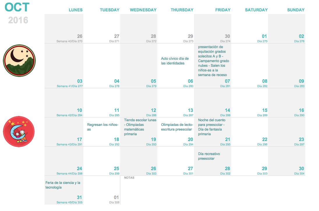 Calendario Colegio Monteluna Octubre
